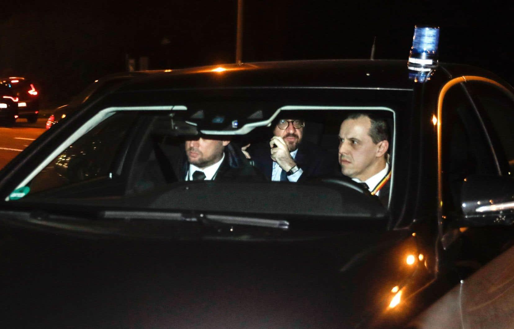 Le premier ministre Charles Michel à son arrivée mardi soir au château royal de Laeken