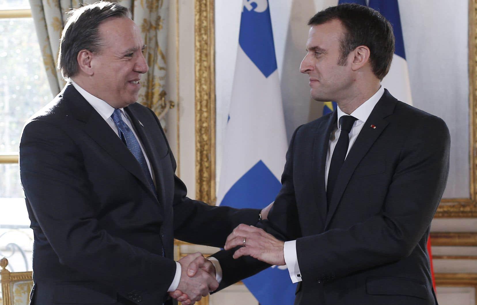Emmanuel Macron a reçu François Legault lundi à l'Élysée.