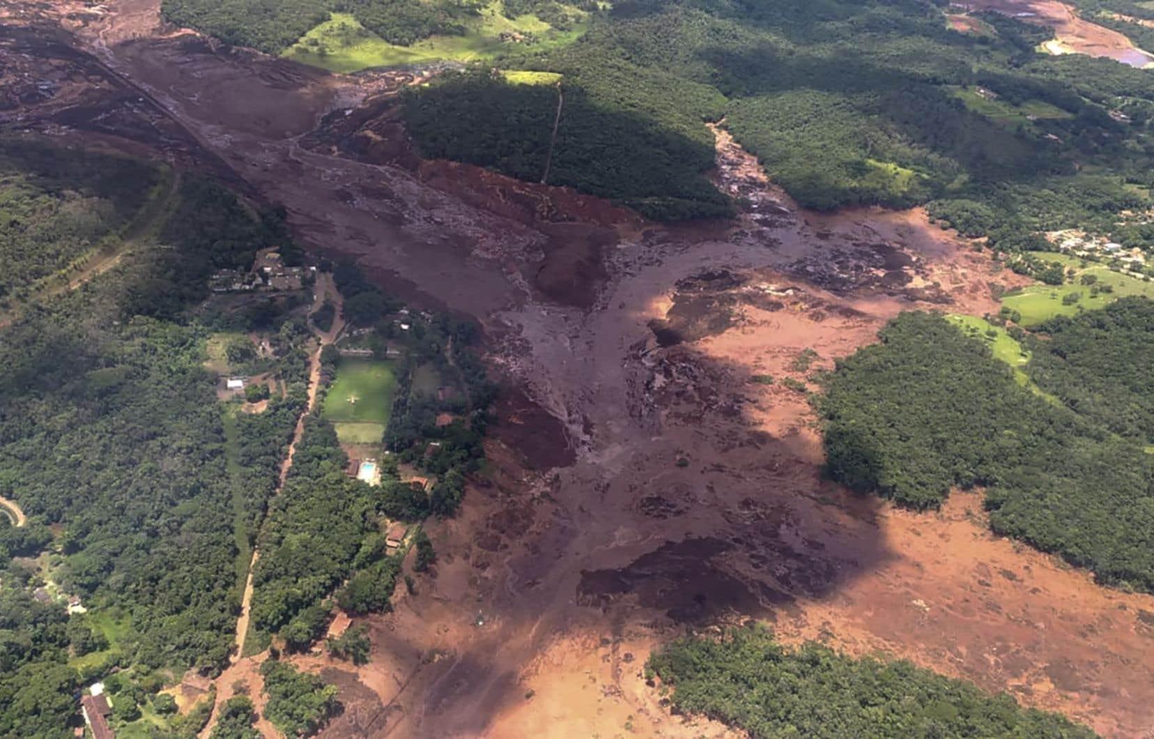 <p>Des images aériennes impressionnantes diffusées par les pompiers montrent une véritable marée de boue de couleur marron aux reflets grisâtres recouvrant d'immenses surfaces de végétation.</p>