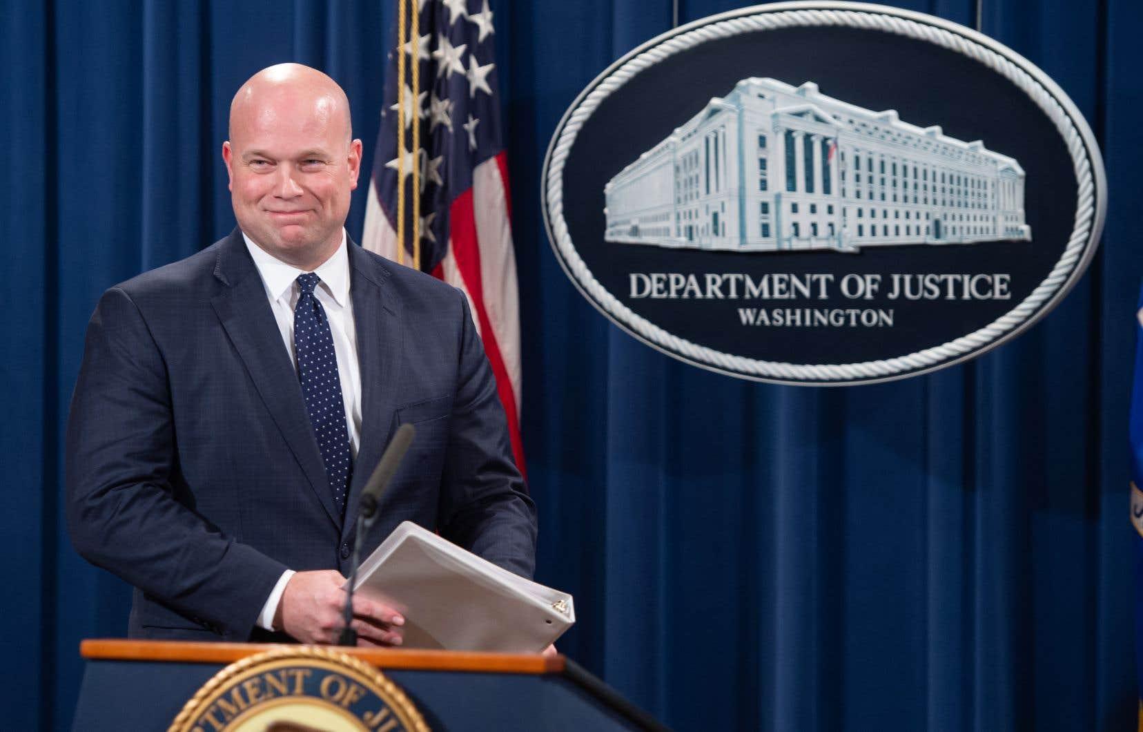 Le ministre américain de la Justice par intérim, Matthew Whitaker