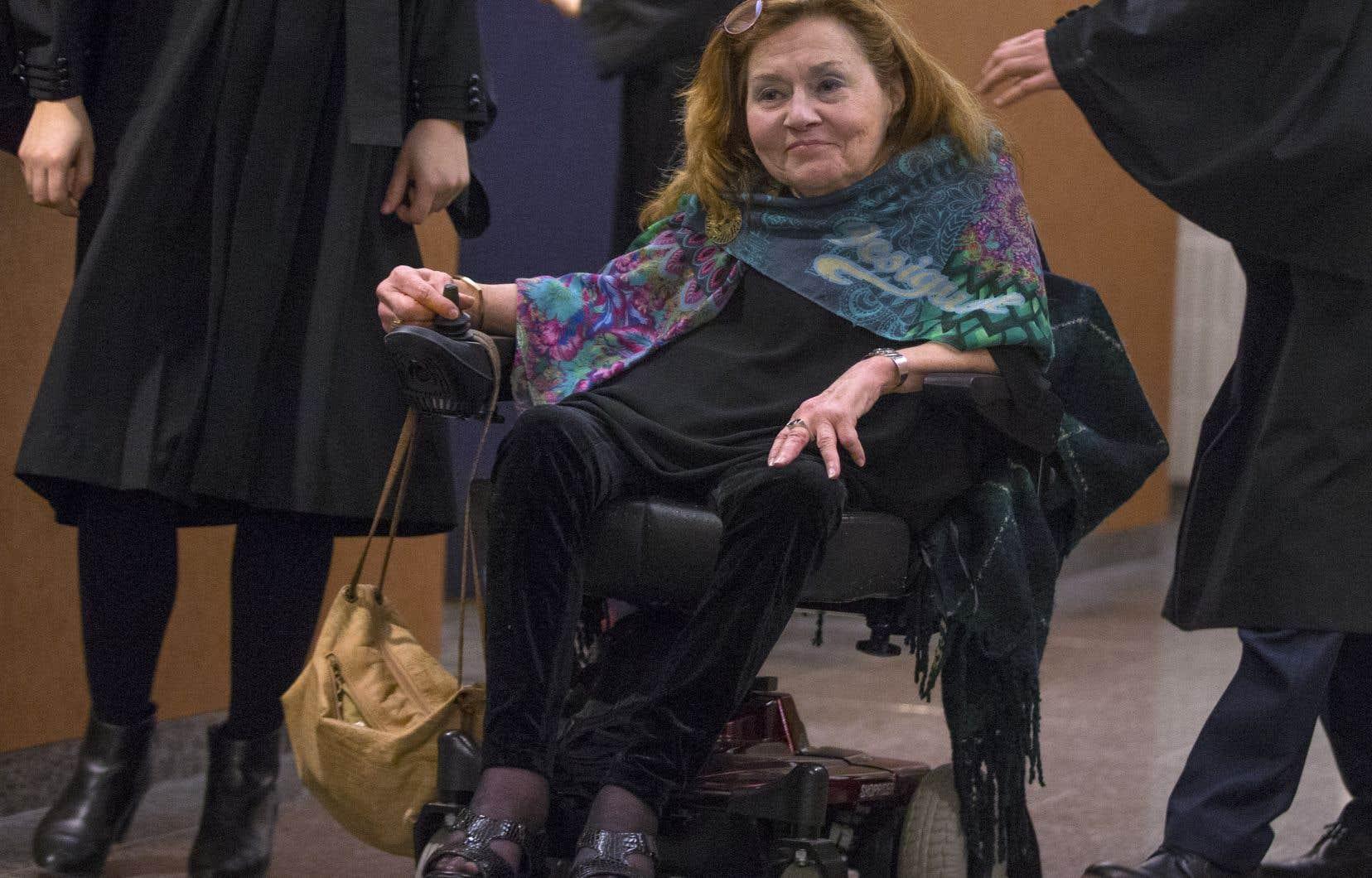 Nicole Gladu (photo) et Jean Truchon, atteints tous deux de graves maladies dégénératives, contestent la constitutionnalité des lois québécoise et fédérale sur l'aide médicale à mourir.