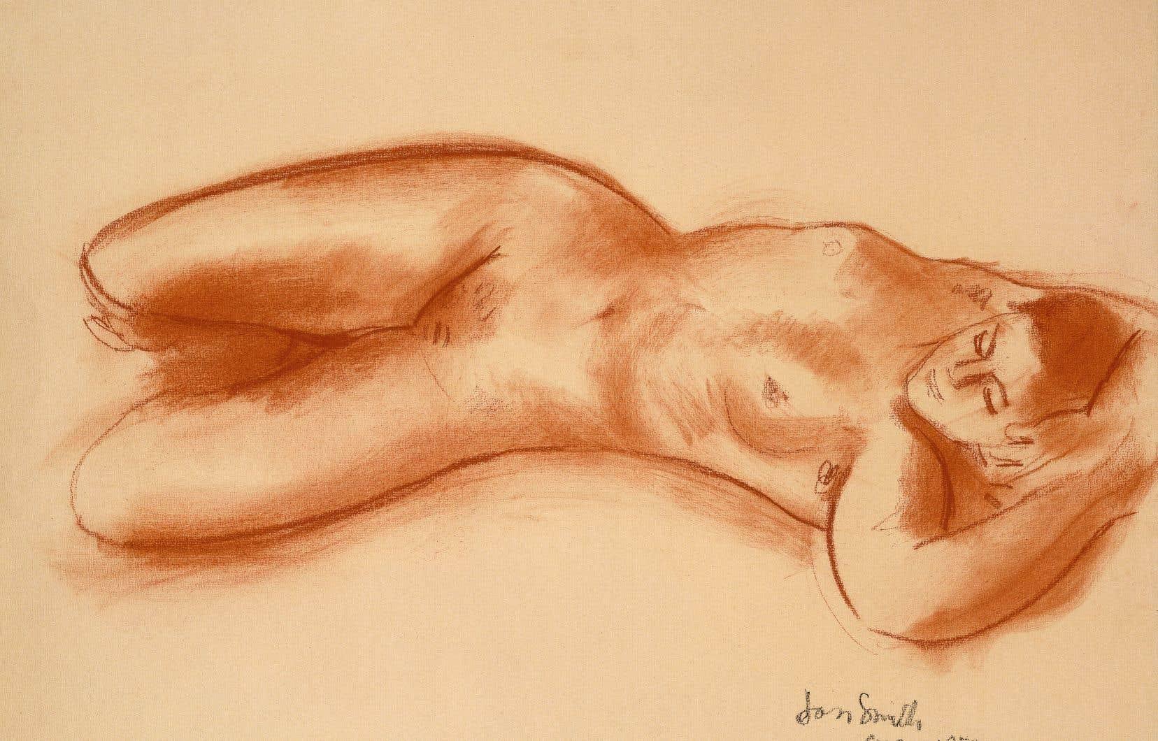 «Nu féminin allongé»,Jori Smith (1907-2005), vers 1950