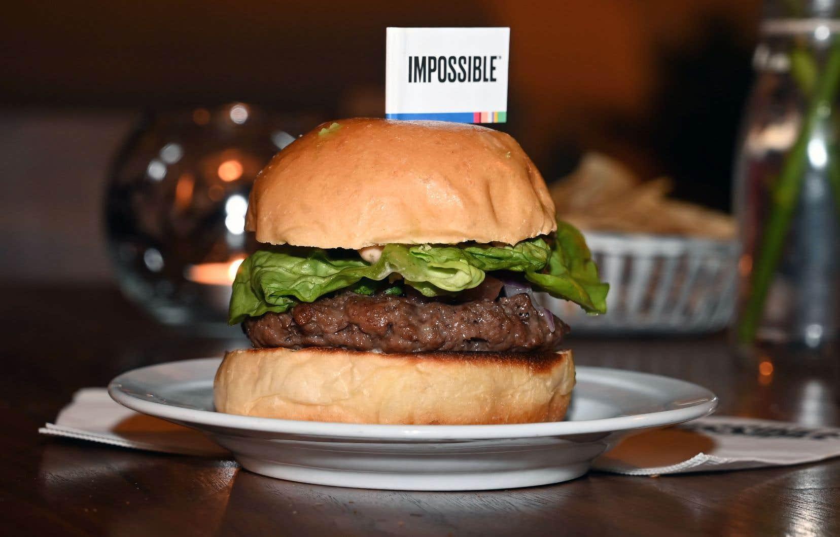 L'«Impossible Burger 2.0» a été présenté au Consumer Electronics Show de Las Vegas en janvier dernier. La galette, faite à partir d'ingrédients végétaux, imite le bœuf.