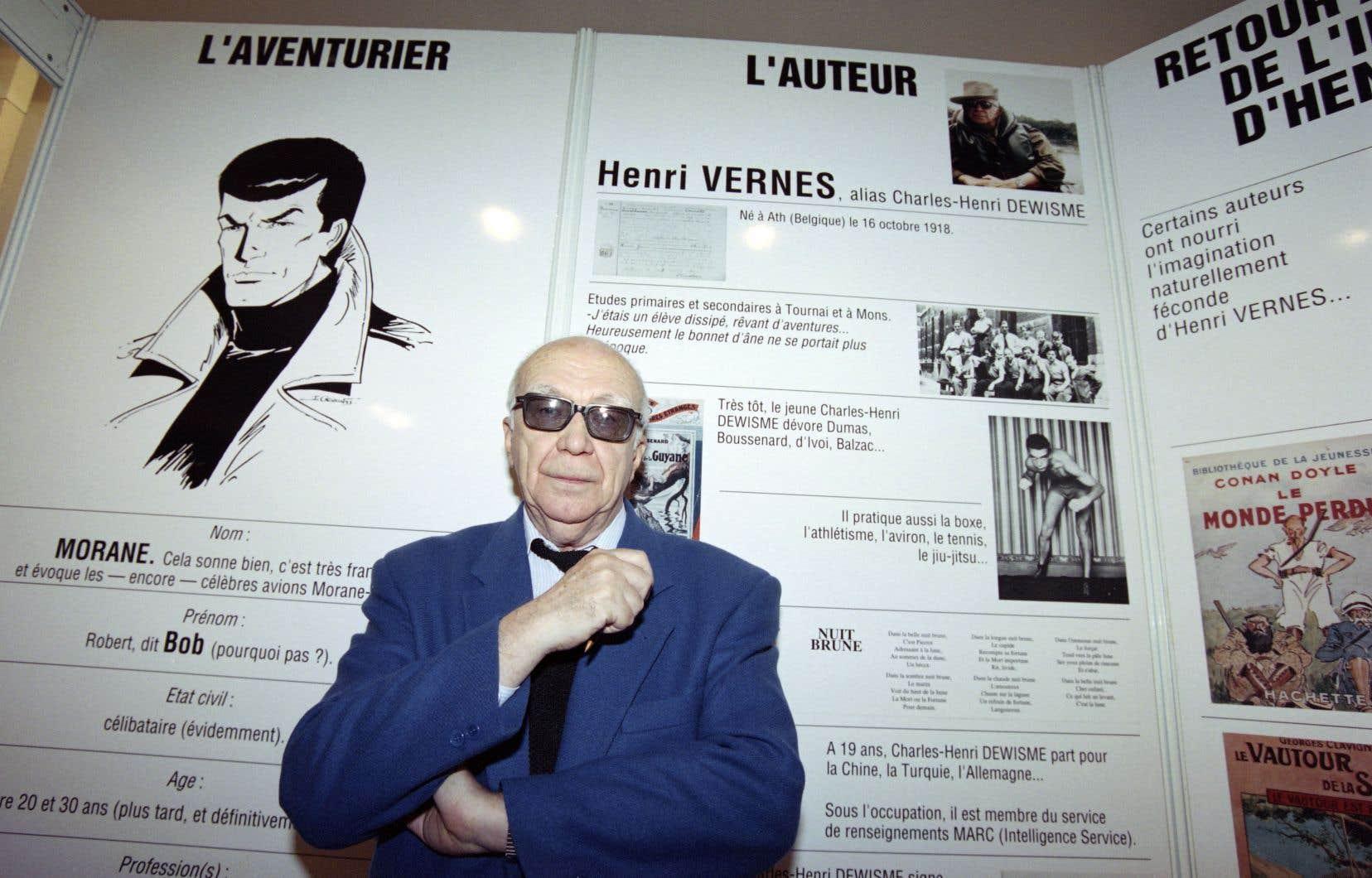 L'écrivain Henri Vernes lors de l'exposition «Bob Morane, 40ans d'aventures», à Paris, en 1993