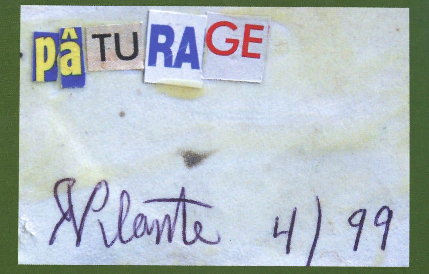 «Pâturage», Trophoux signé Roch Plante, collection Forget-Georgesco, Lanctôt éditeur.Cette œuvre ne fait pas partie du litige qui oppose actuellement Charles Forget et Stefan Georgesco, un duo d'amis de l'écrivain québécois, à sa liquidatrice, Monique Jean.