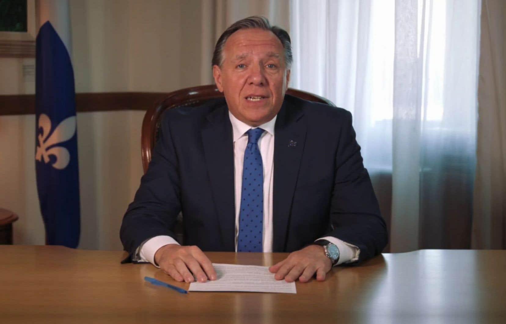 Le premier ministre François Legault, lors de son allocution de dimanche