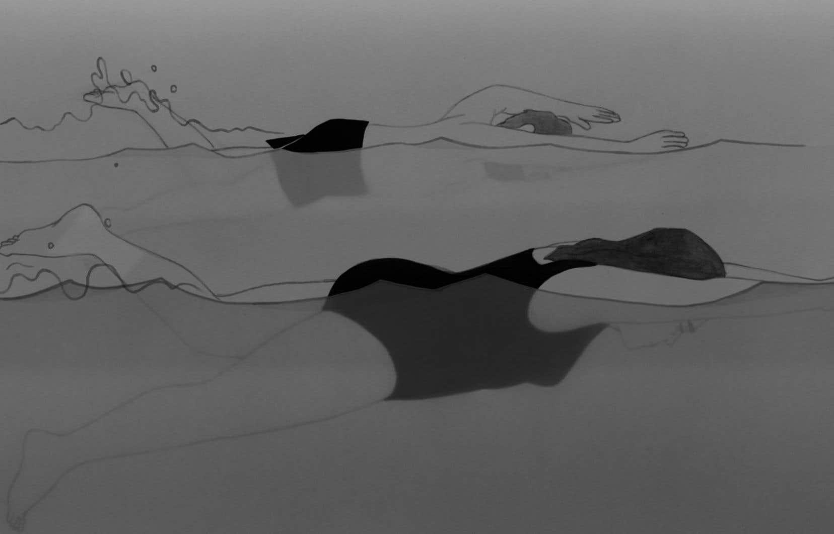 Réalisé au moyen de la technique de l'encre sur papier, «Ville Neuve» coule, flot noir et blanc charriant métamorphoses, permutations et fulgurances en autant de nuances de gris.