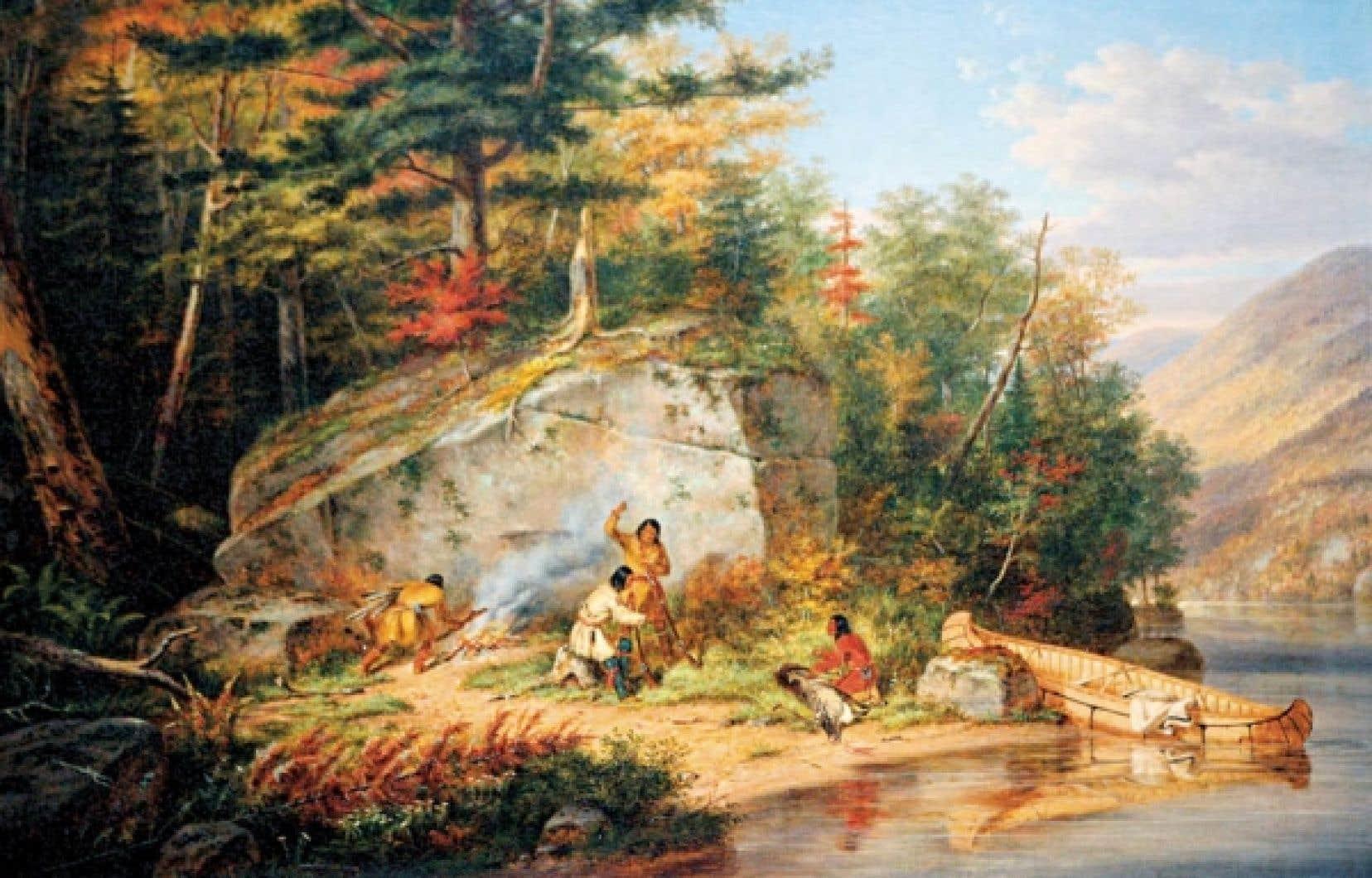 Une toile de Cornelius Krieghoff illustrant la vie des Hurons.<br />