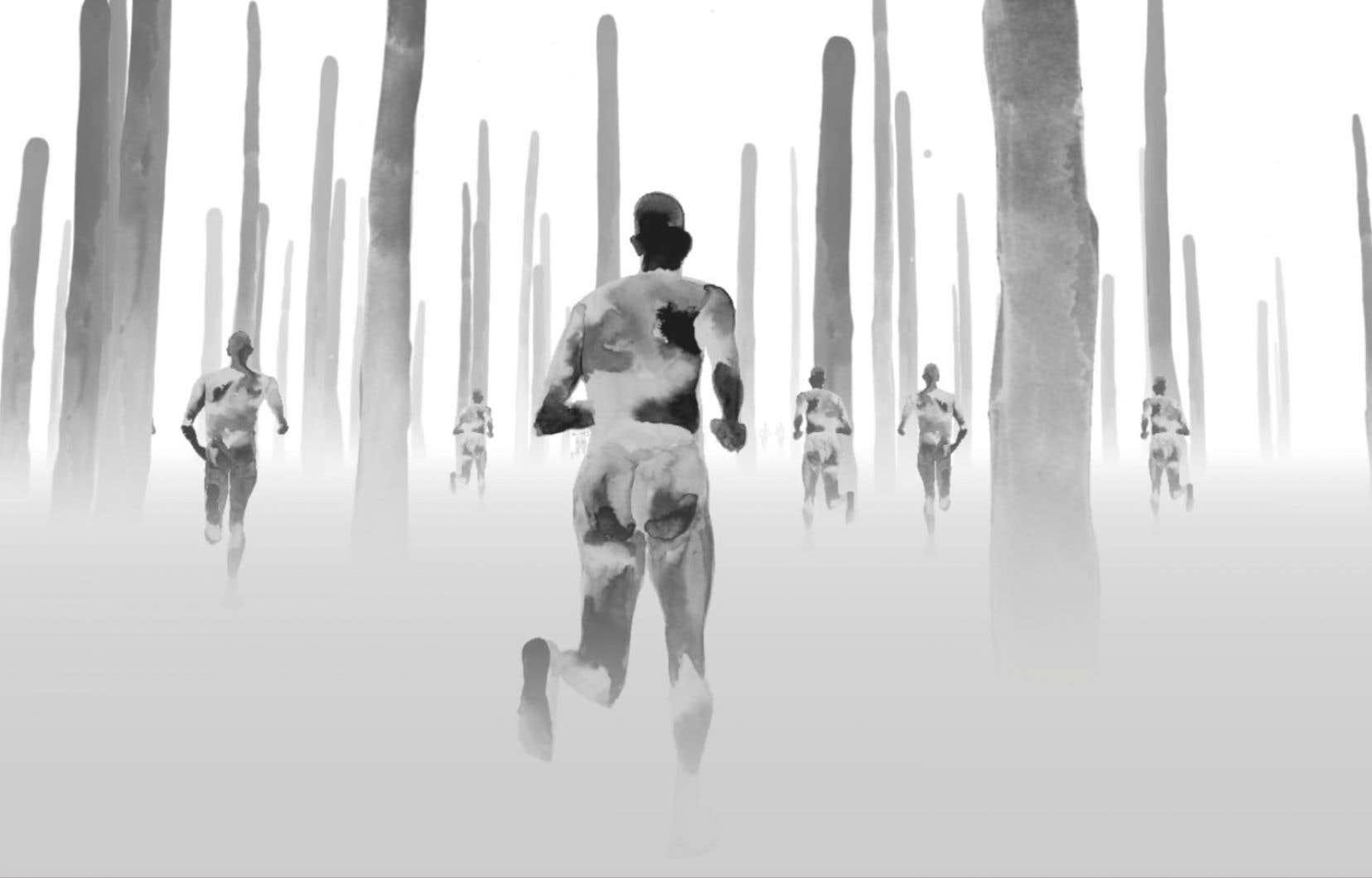 Dans la pièce intitulée «The Bridge», on plonge dans l'univers de l'artiste contemporain Nikita Shalenny, qui revisite ses propres aquarelles en noir et blanc.