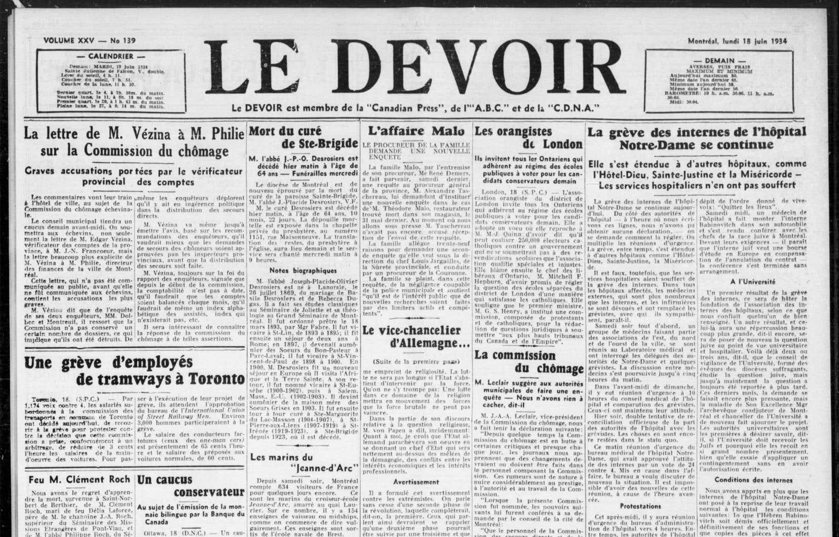 L'édition du «Devoir» du 18 juin 1934 fait mention des négociations entre les autorités de l'hôpital Notre-Dame et le médecin Samuel Rabinovitch concernant son départ.