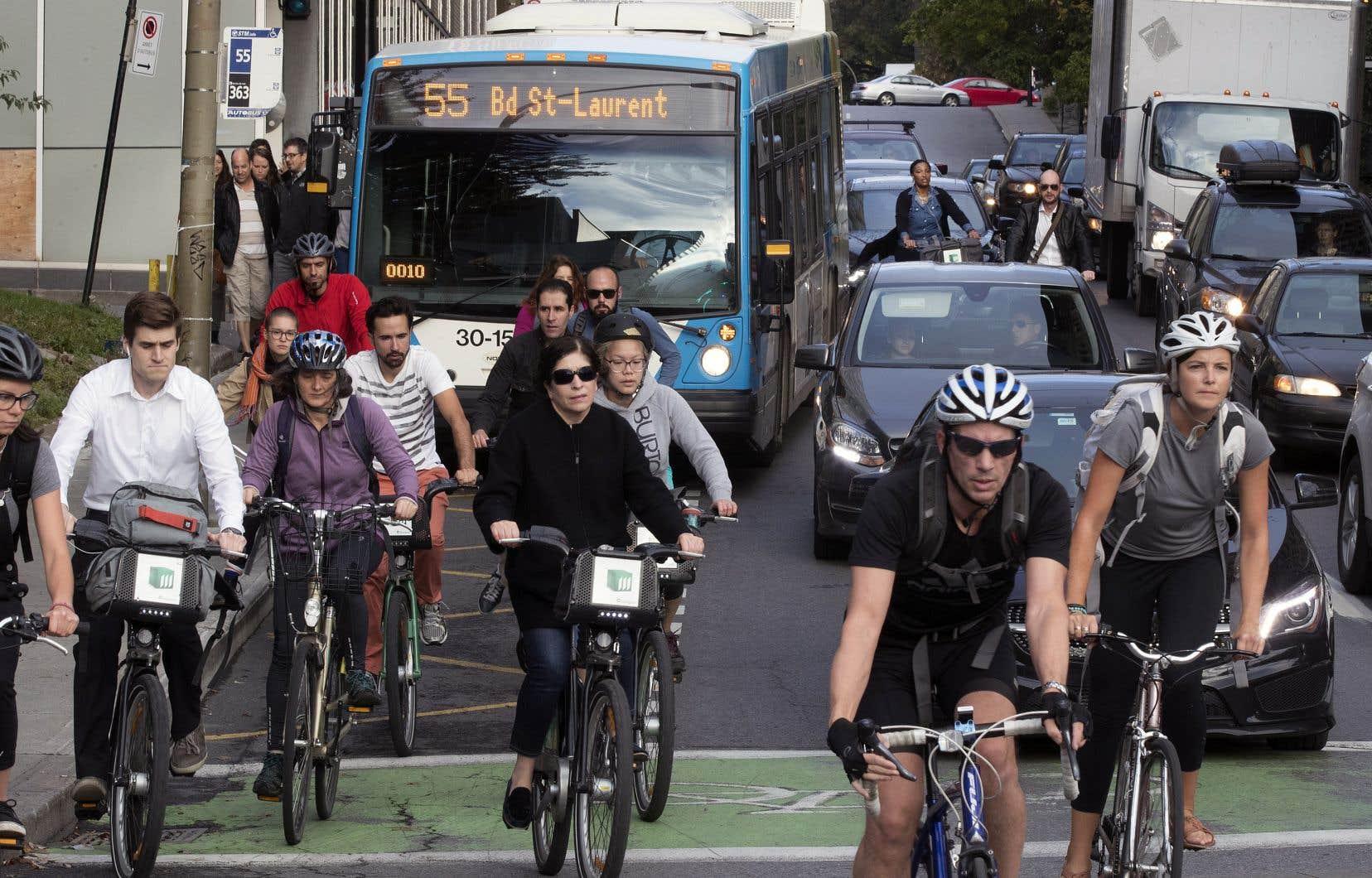 L'accessibilité au transport collectif et au service de partage de voitures, ainsi que l'engouement pour le transport actif, pourraient expliquer la baisse du nombre de voitures à Montréal.