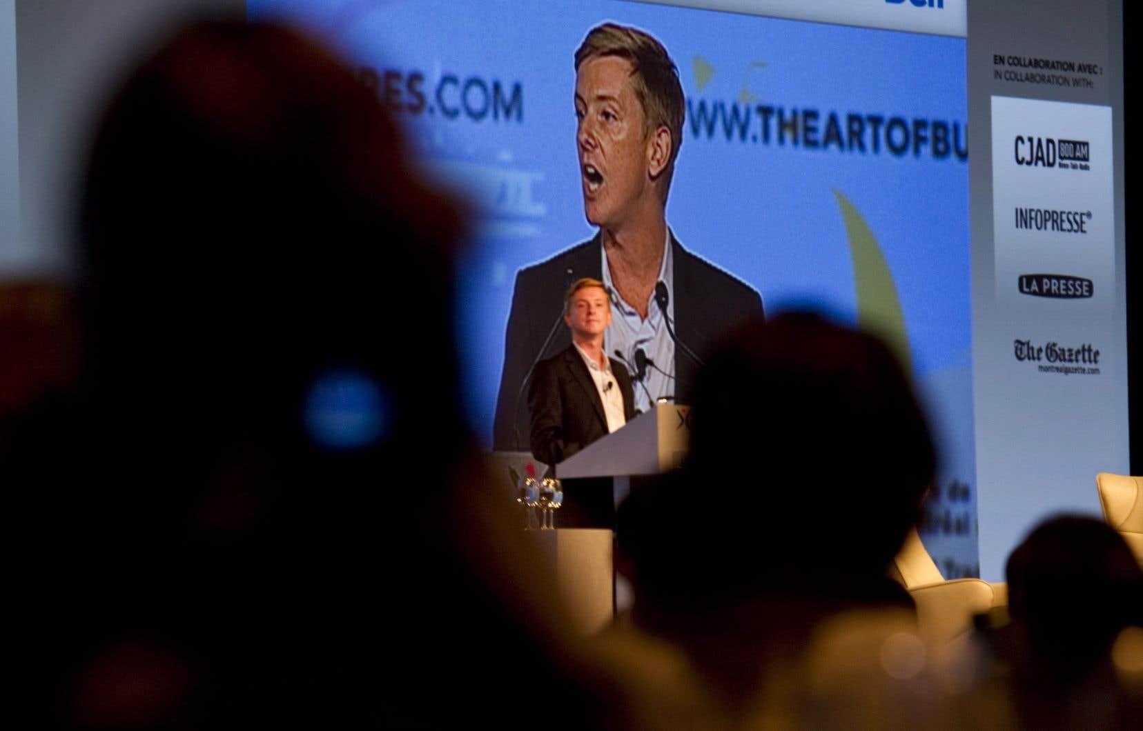 L'un des cofondateurs de Facebook, Chris Hughes, lors d'une conférence tenue à Montréal en septembre 2011 à Montréal