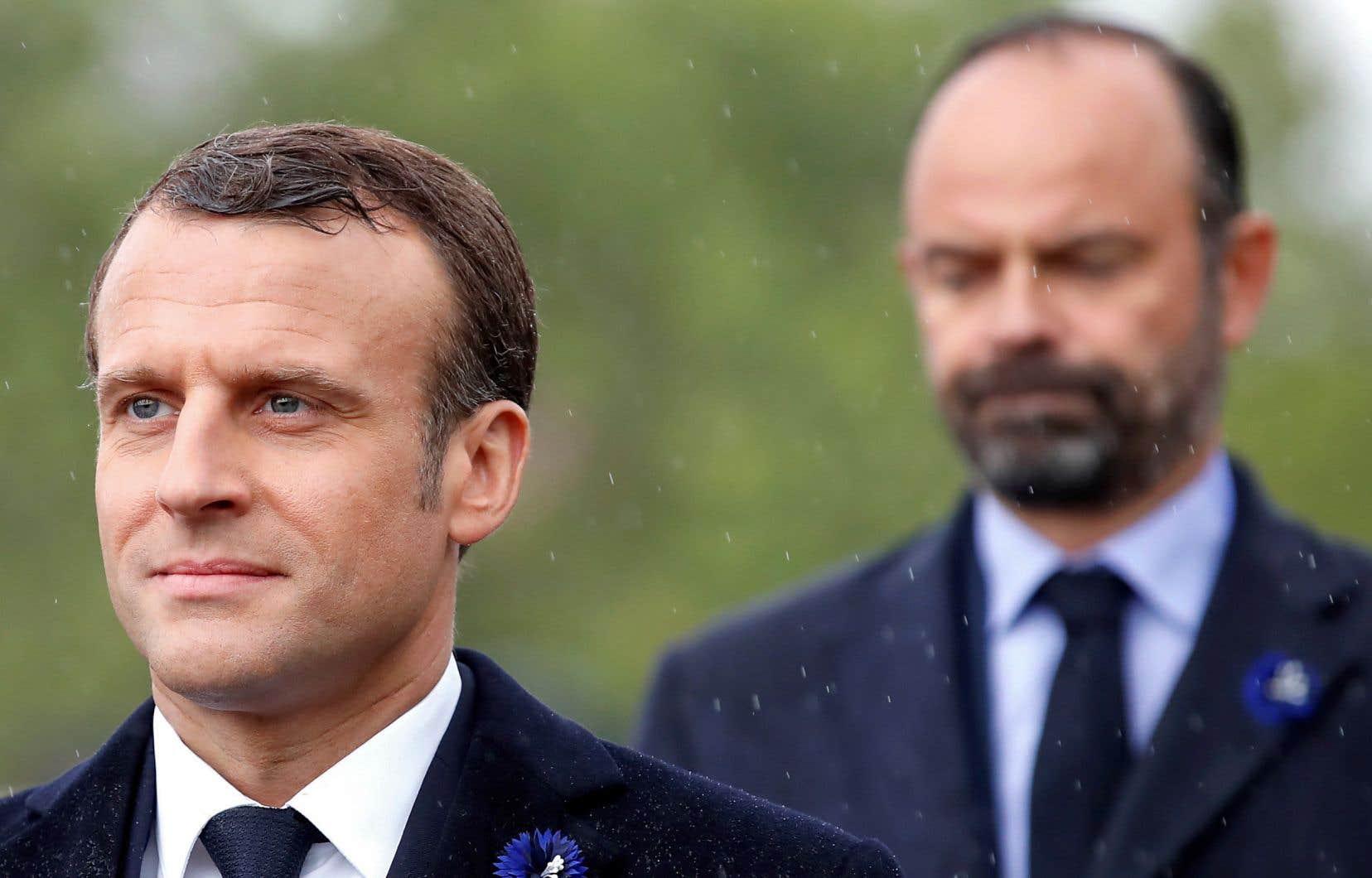 Le président Emmanuel Macron, en compagnie du premier ministre Édouard Philippe