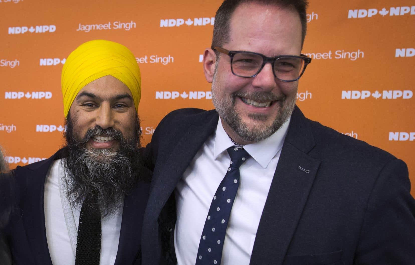 Le chef du Nouveau Parti démocratique, Jagmeet Singh, et le chef-adjoint de la formation, Alexandre Boulerice