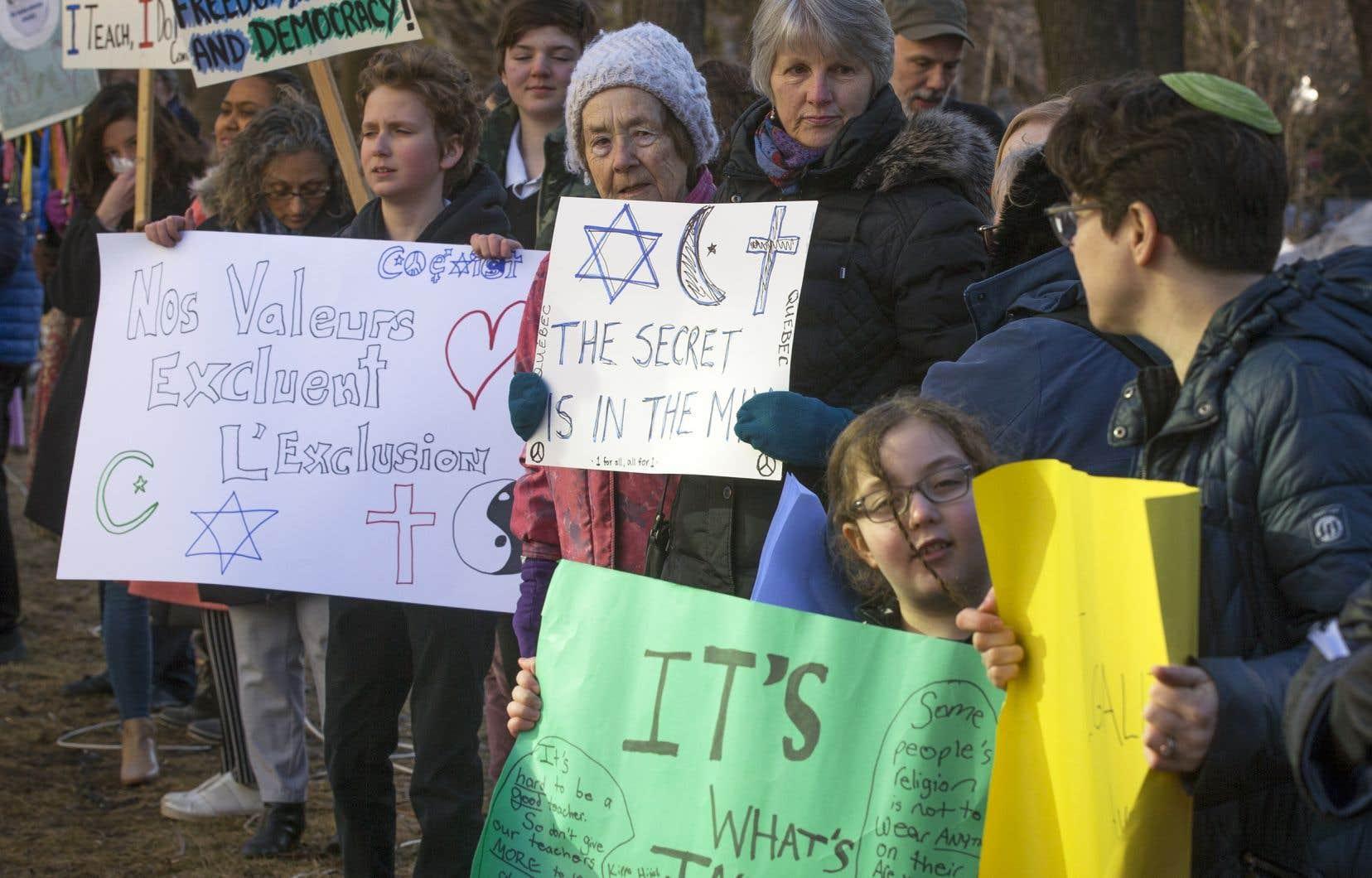 Une manifestation contre le projet de loi 21 sur la laïcité a été tenue au mois d'avril dernier.
