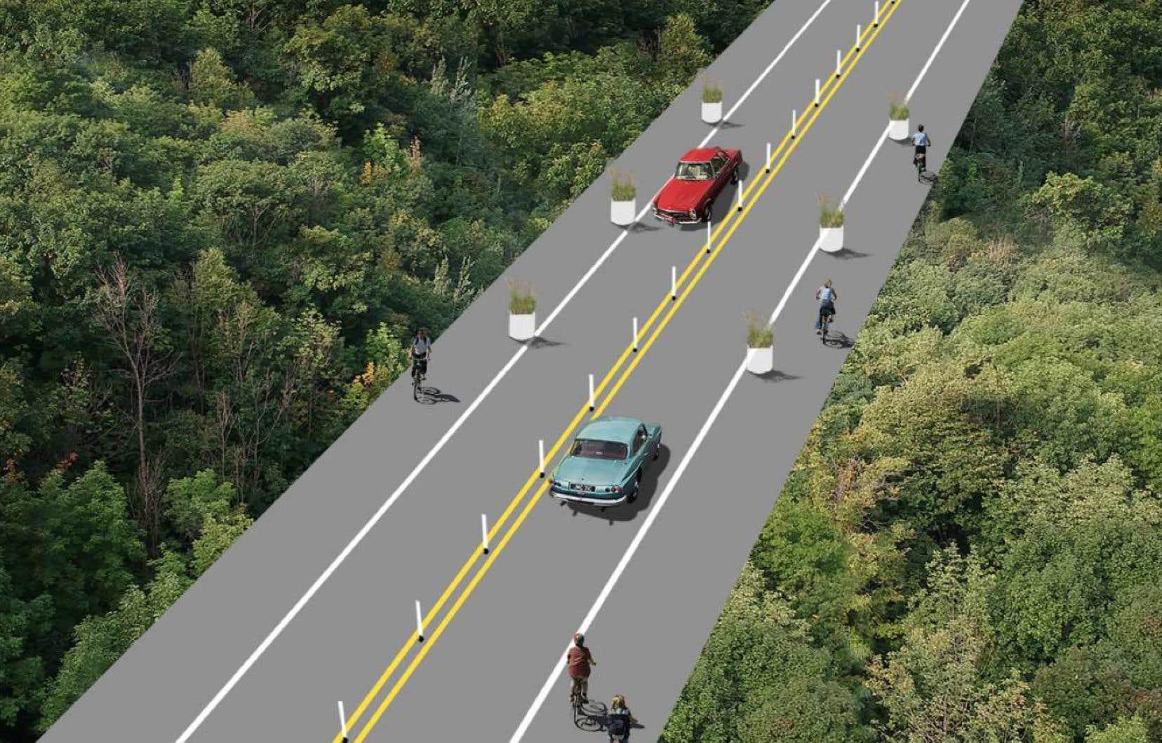 La Ville entend installer des bollards au centre de la chaussée sur la voie Camillien-Houde.