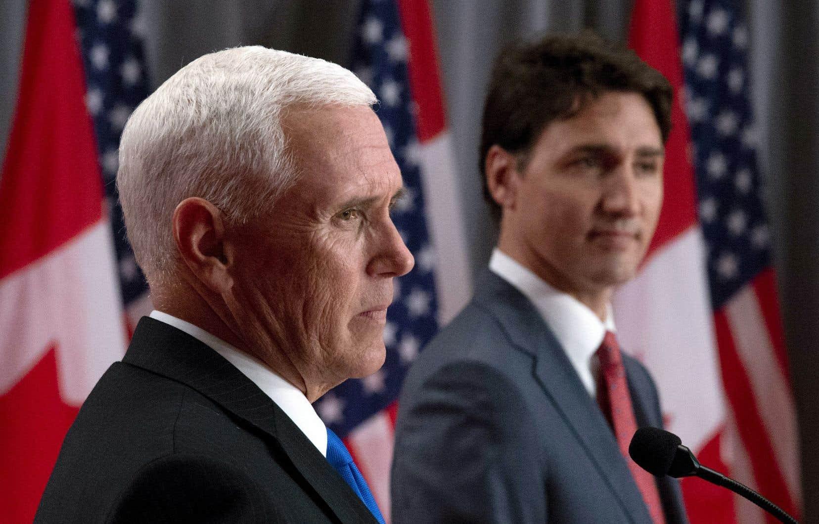 En conférence de presse, le vice-président américain, Mike Pence, et le premier ministre canadien, Justin Trudeau, n'ont pas caché leurs désaccords sur un certain nombre de sujets. M.Pence a effectué une visite-éclair à Ottawa jeudi.