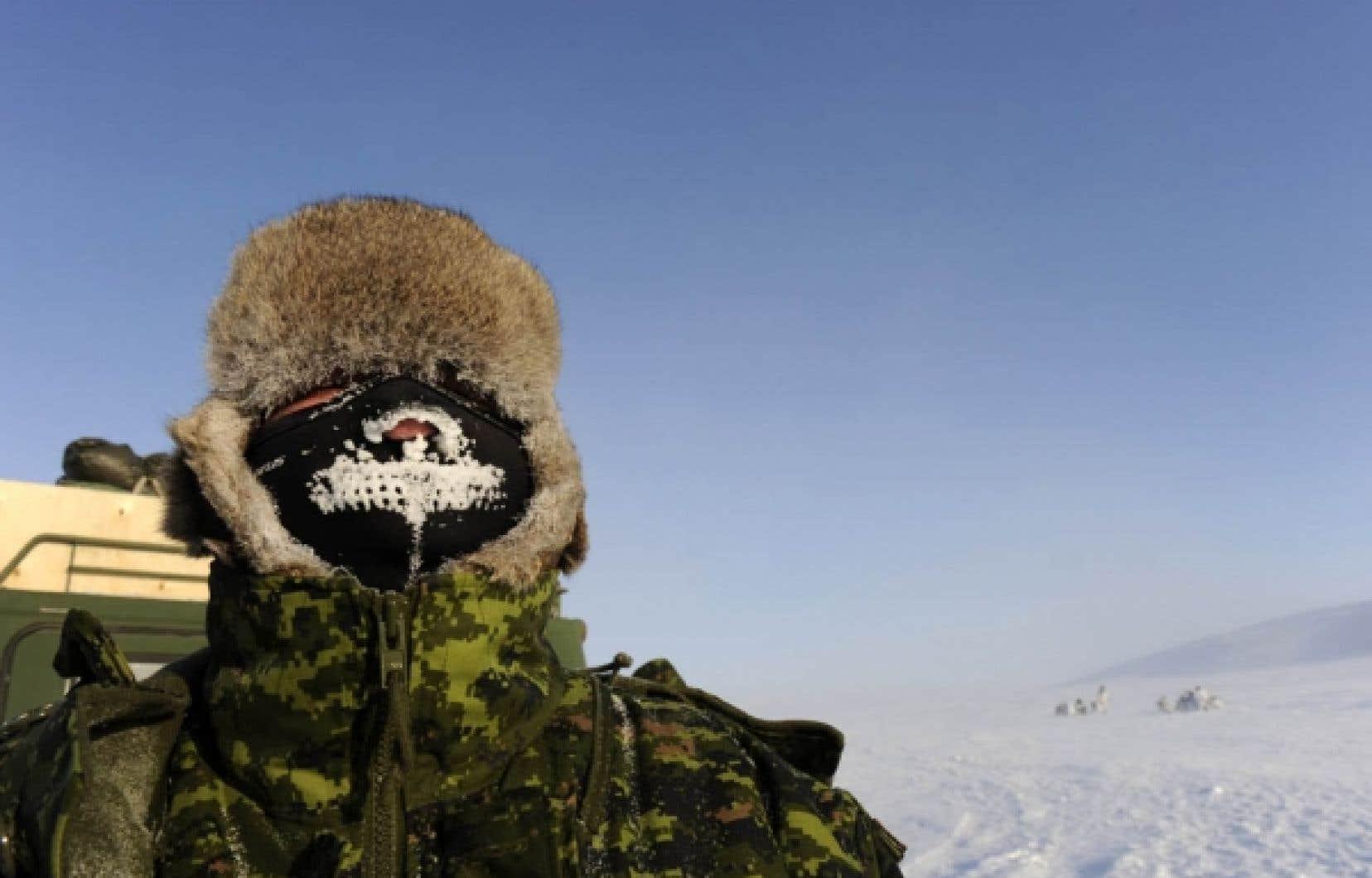 Un soldat canadien en exercice dans l&rsquo;Arctique.<br />