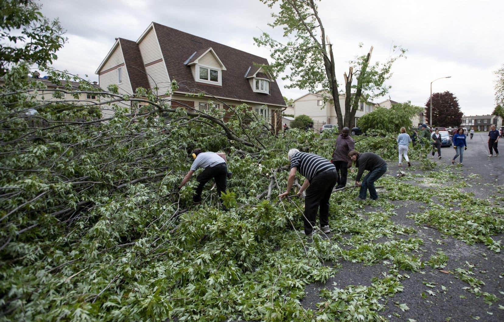 Selon Environnement Canada, «la tornade soulève des débris et cause des dommages». L'agence recommandait à la population des environs de se mettre à l'abri «immédiatement».