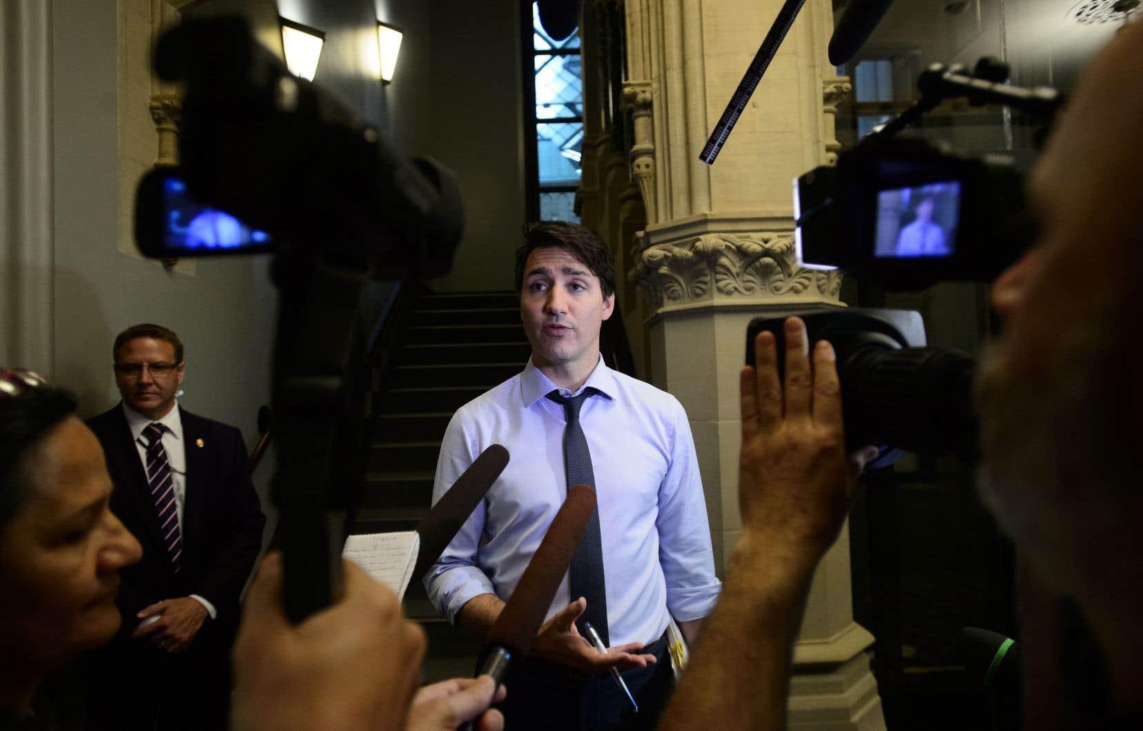 Le premier ministre Justin Trudeau à son arrivée au Parlement, mercredi matin