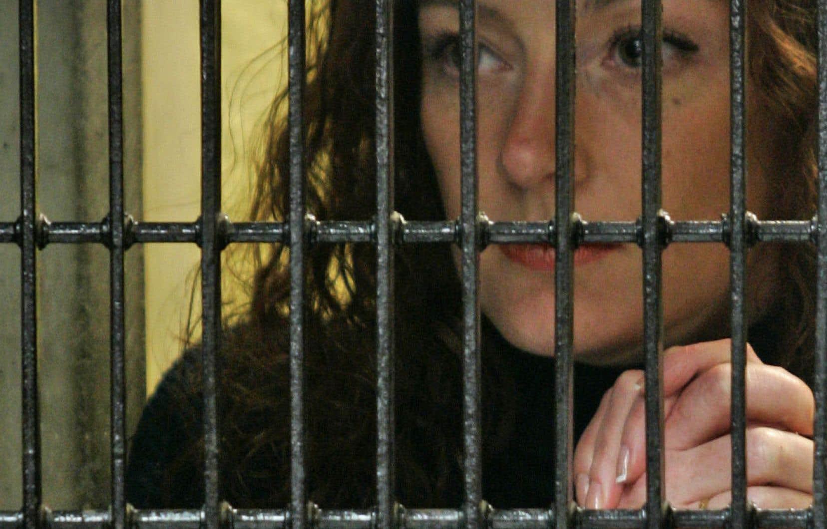 La Française Florence Cassez dans sa cellule au Mexique, en 2008