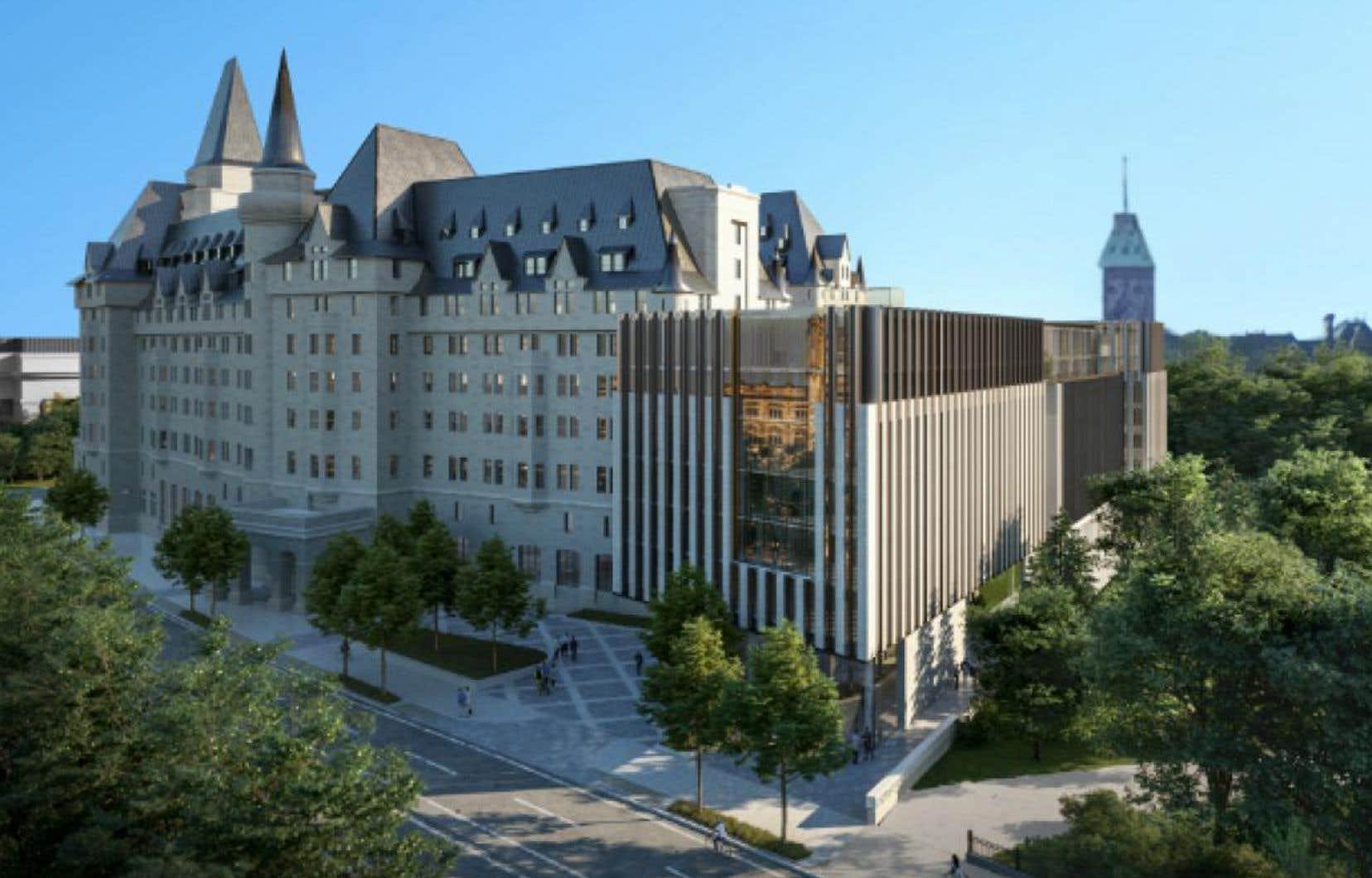 Le projet d'agrandissement du Château Laurier prévoit la construction d'une annexe liée à l'actuel bâtiment historique.