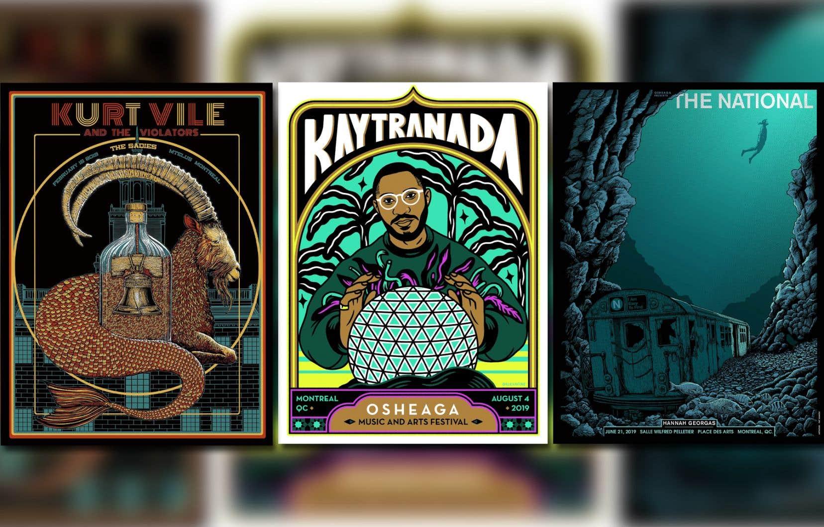 Les affiches des concerts de Kaytranada (au centre), Kurt Vile (à gauche) et The National (à droite) en 2019
