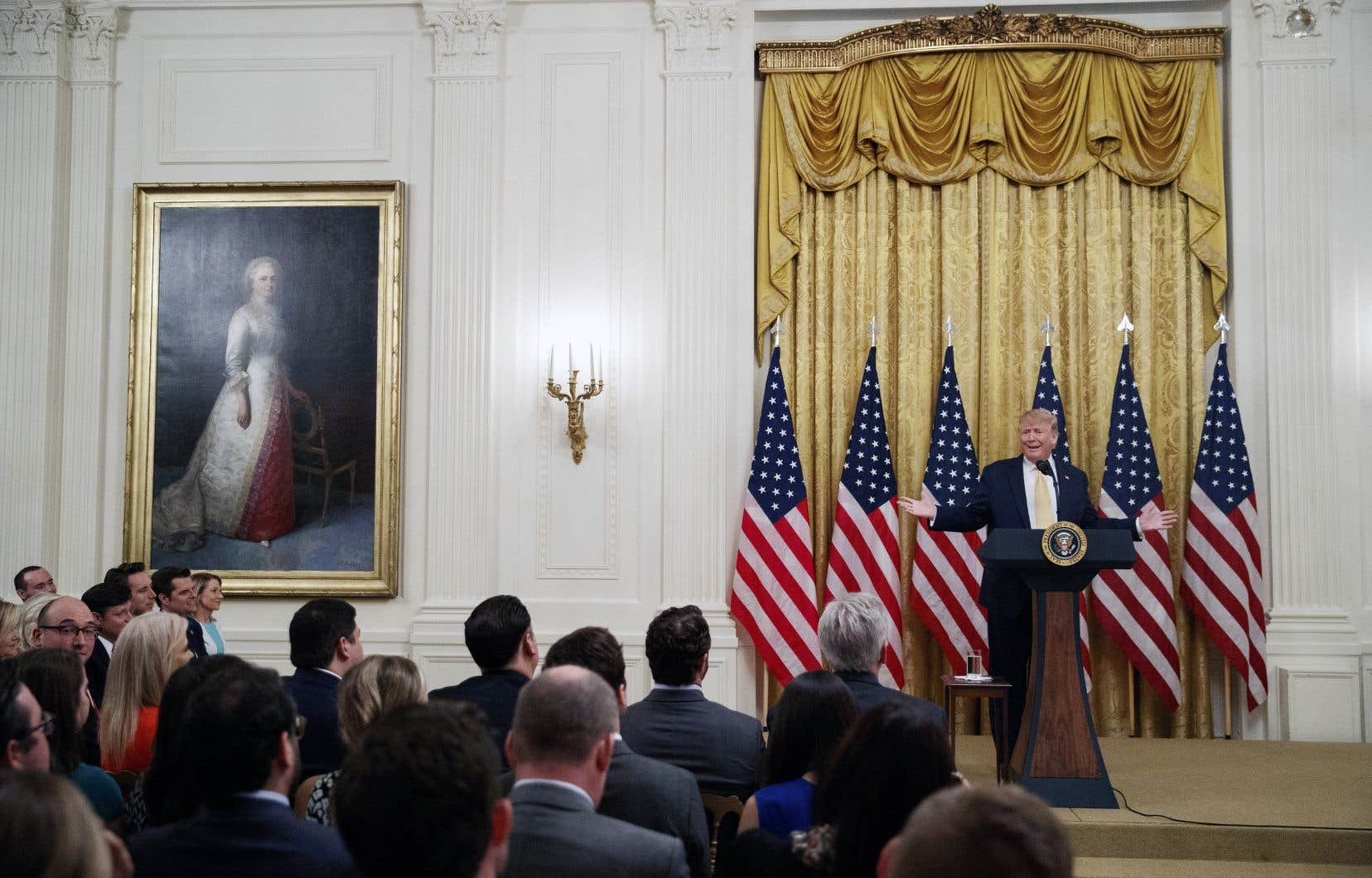 Pour son sommet présidentiel sur les réseaux sociaux, Donald Trump a rassemblé dans un salon de la Maison-Blanche plusieurs organisations conservatrices qui déplorent régulièrement d'être censurées sur les plateformes en ligne.