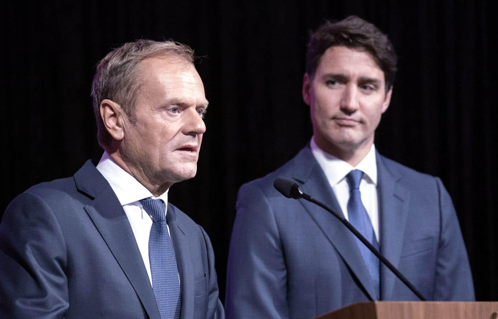 Le premier ministre canadien doit faire la promotion de l'Accord économique et commercial global (AECG) avec le président du Conseil européen, Donald Tusk, dans une série d'événements à Montréal mercredi et jeudi.