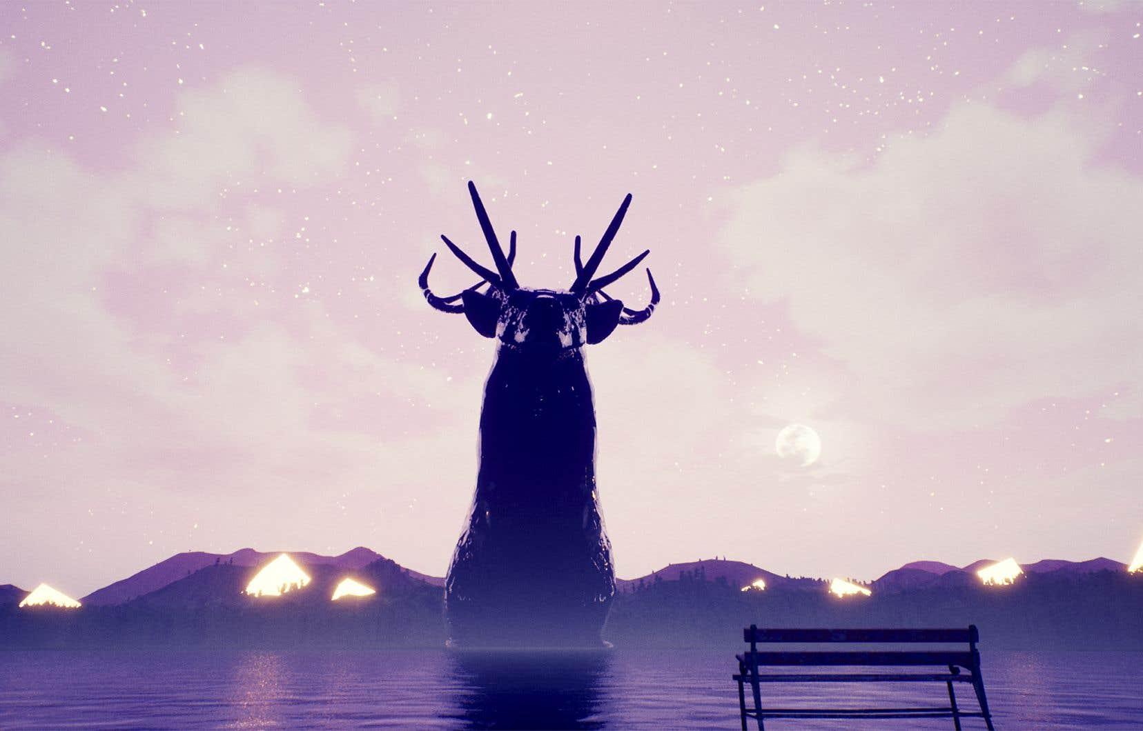«Tu te promènes dans une forêt, puis tu rencontres un cerf géant qui fait huit étages de haut et tu lui parles. Le jeu, c'est juste ça», raconte le programmeur et concepteur de jeux vidéo, Simon-Albert Boudreault.