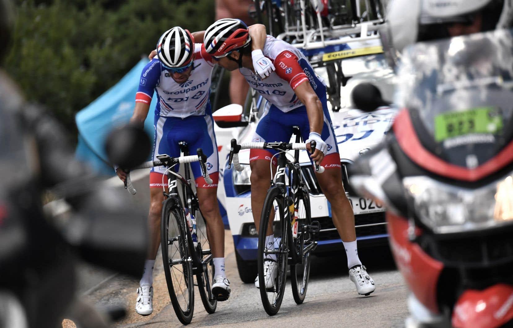 Le Français Thibaut Pinot était censé être favorisé par le parcours, ponctué de nombreuses ascensions très abruptes, mais il a dû abandonner le Tour à la 19e étape à cause d'une blessure.