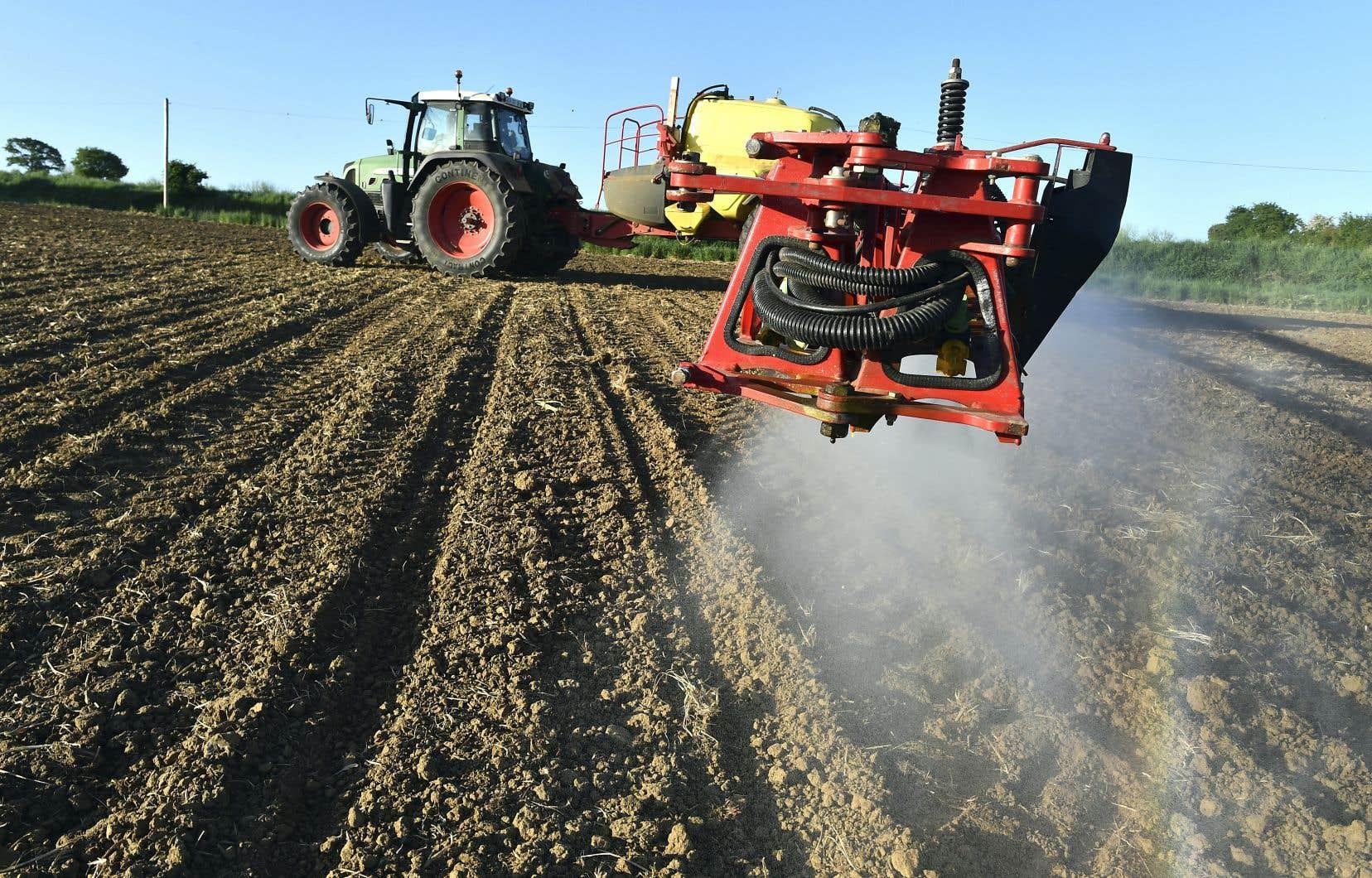 Un agriculteur français pulvérise un herbicide à base de glyphosate sur ses terres.