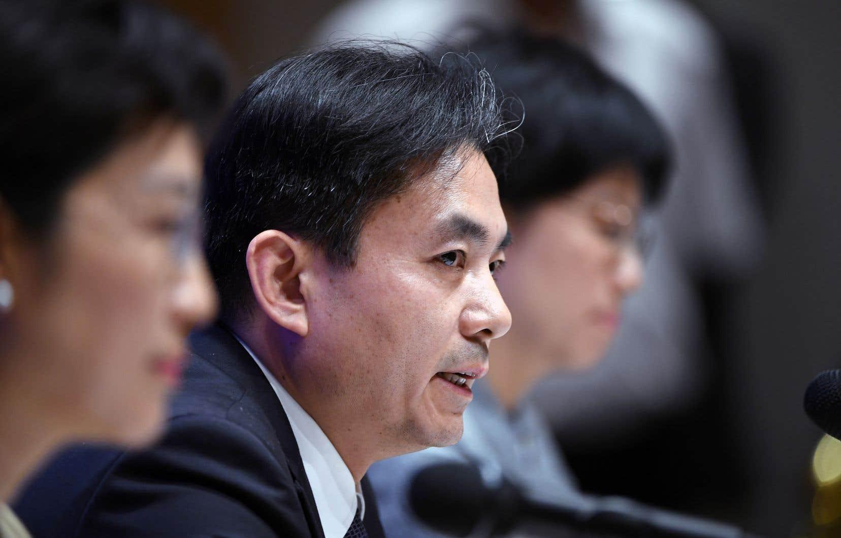 Le porte-parole du Bureau des affaires de Hong Kong et de Macao du gouvernement chinois, Yang Guang, s'est adressé à la presse.