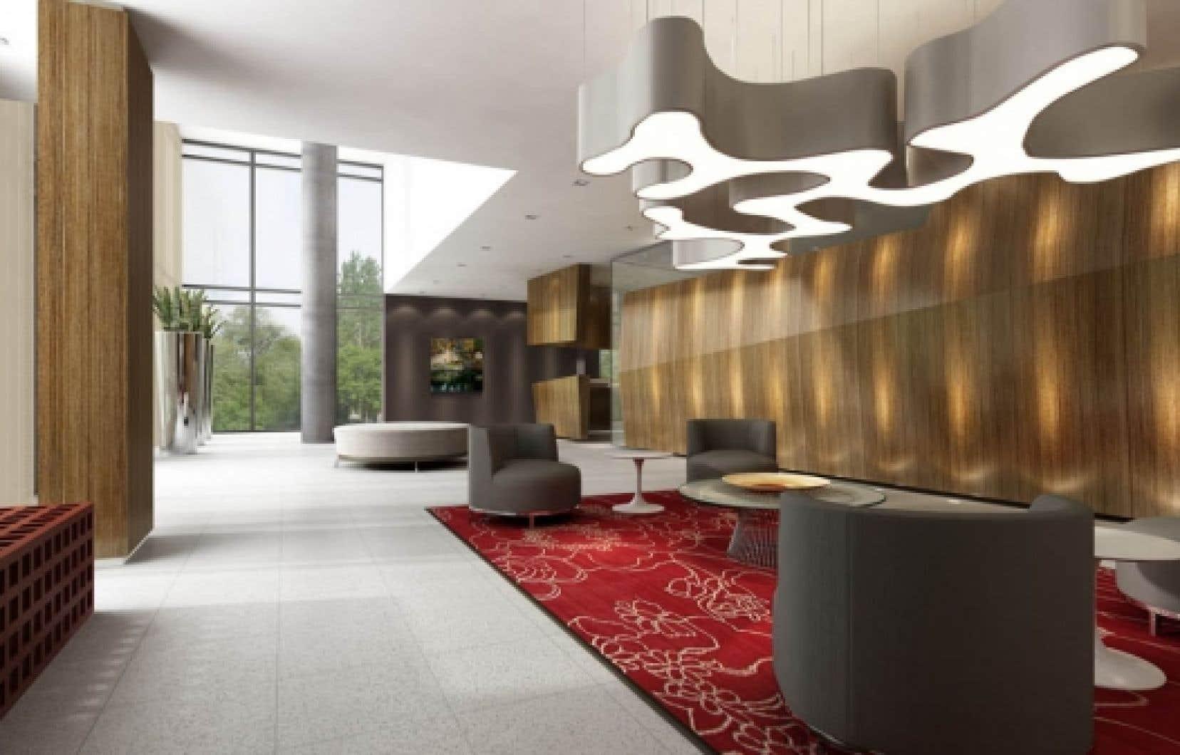 Le lobby de la future tour baptisée Évolo