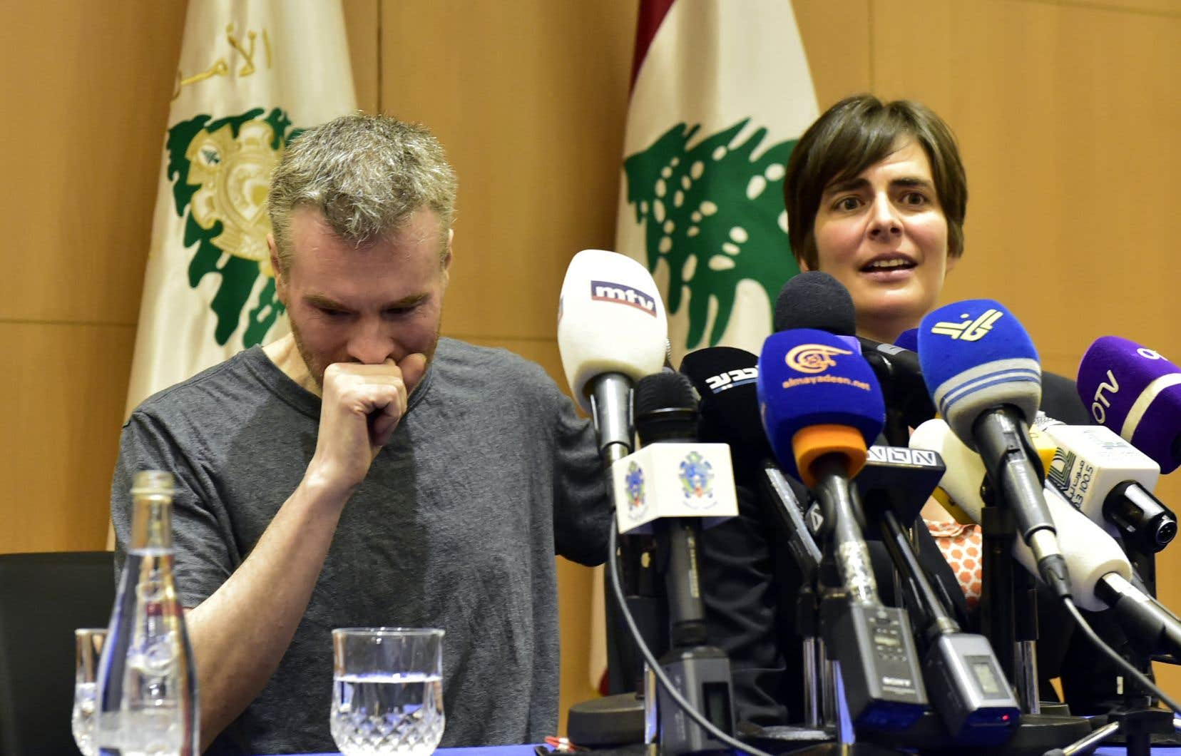 Kristian Lee Baxter, aux côtés de l'ambassadrice du Canada au Liban, Emanuelle Lamoureux