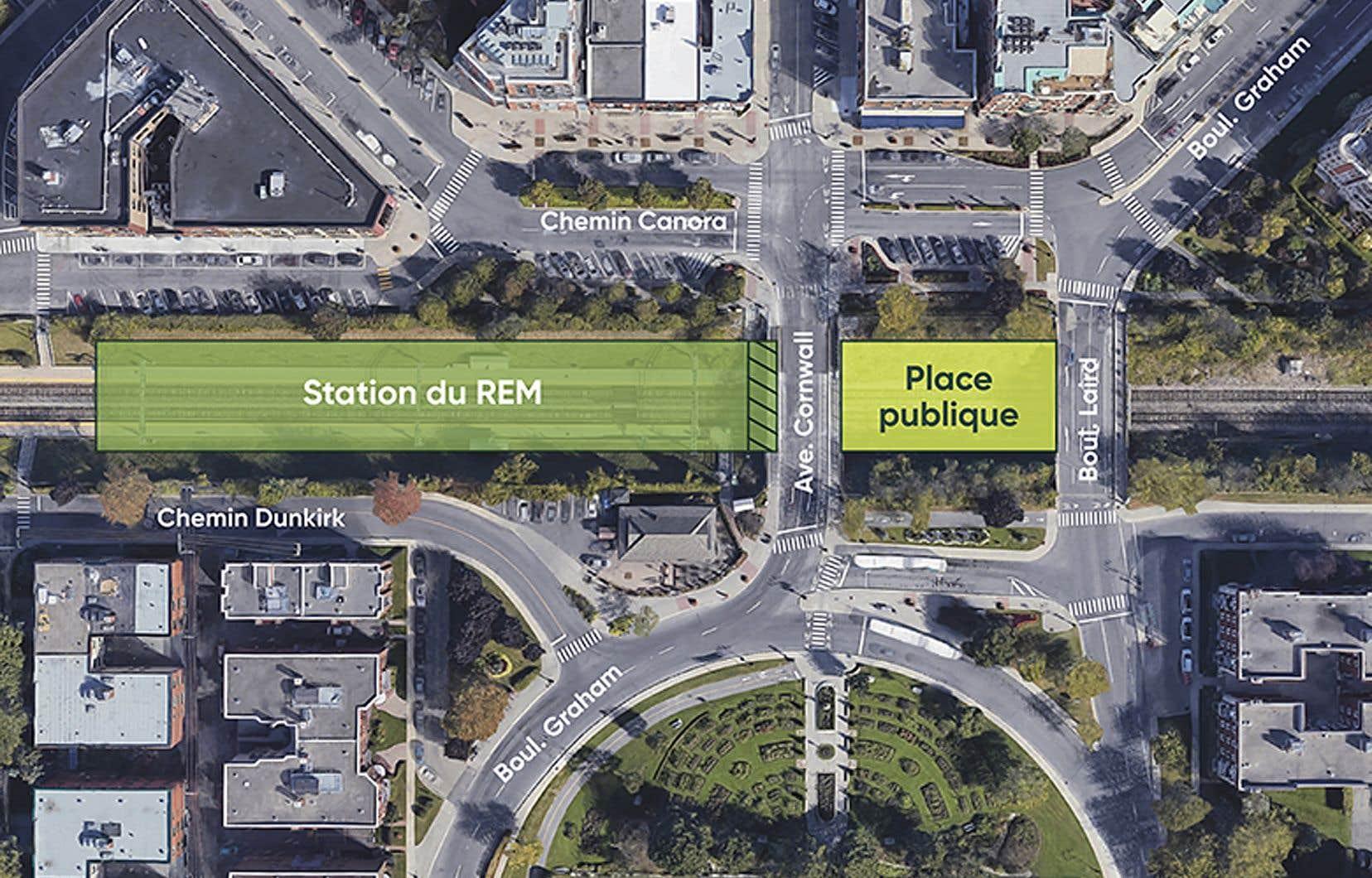 Cette nouvelle place publique — qui unifiera le centre-ville de Mont-Royal — permettra d'éliminer le projet de passerelle prévu initialement dans le projet du REM afin d'enjamber les rails.
