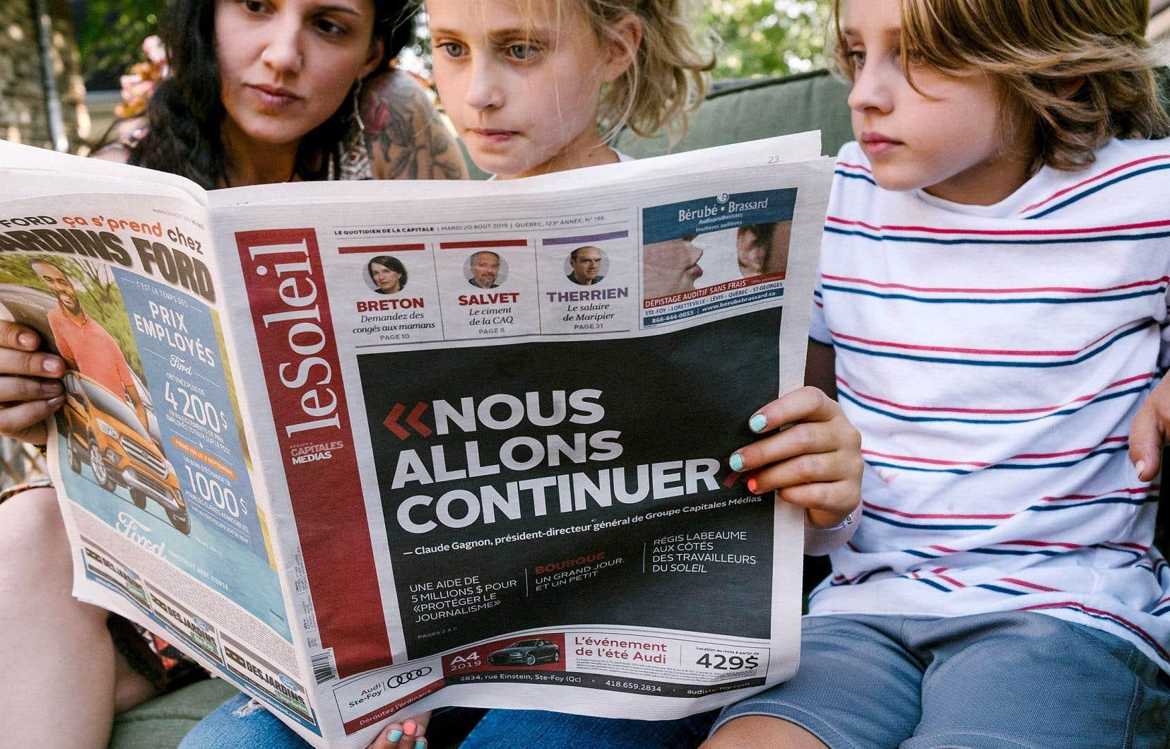 Le quotidien <em>Le Soleil</em> a consacré une large part de sa page une de mardi aux difficultés financières du groupe auquel il appartient.