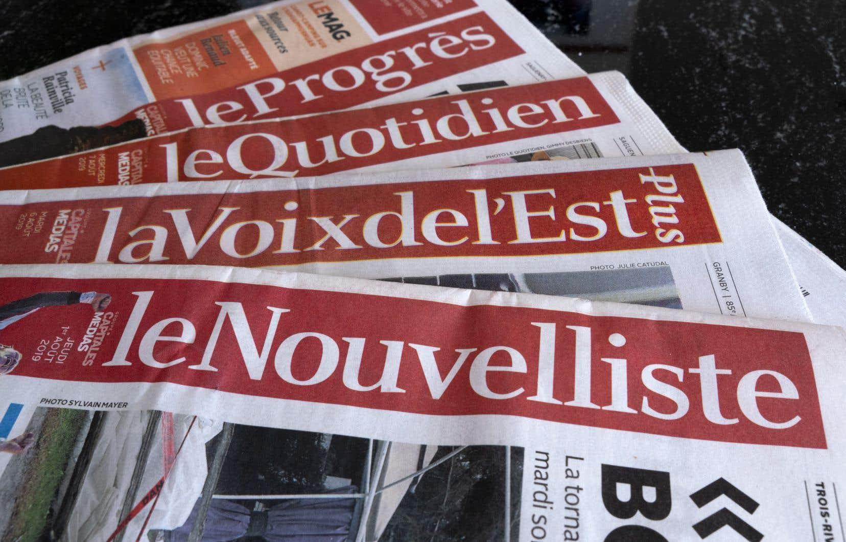 Le gouvernement est le principal créancier de Capitales Médias, qui publie «Le Soleil» à Québec, «Le Droit» à Gatineau, «Le Quotidien» à Saguenay, «Le Nouvelliste» à Trois-Rivières, «La Tribune» à Sherbrooke et «La Voix de l'Est» à Granby.