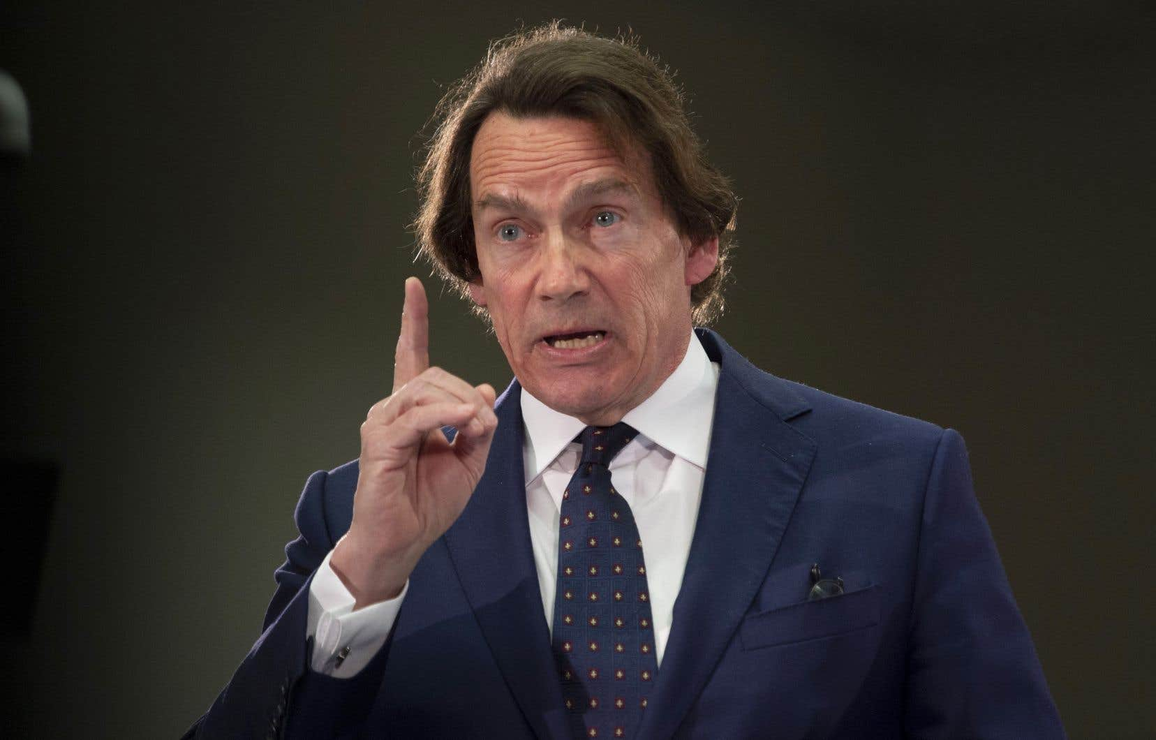 Le p.-d.g. de Québecor, Pierre Karl Péladeau, a pris la parole pour promouvoir les «intérêts économiques des Québécois et des Québécoises».