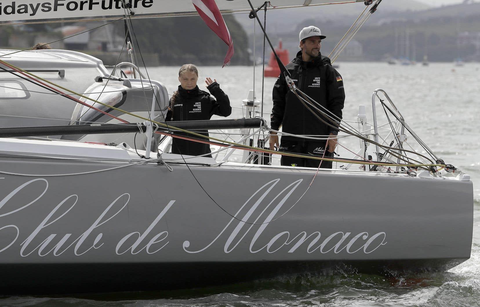 Greta Thunberg est partie de Plymouth, en Angleterre, le 14 août dernier à bord du voilier <em>Malizia II</em>.