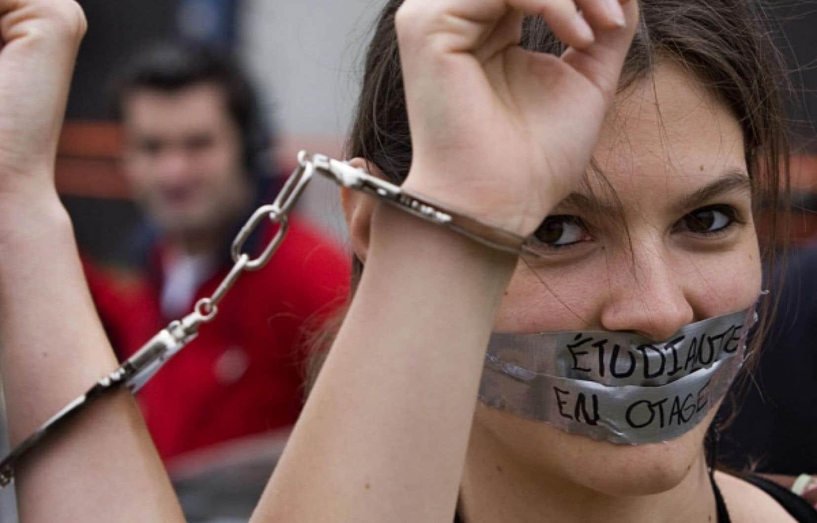 Manifestation d'étudiants de l'Université de Montréal en avril dernier.<br />