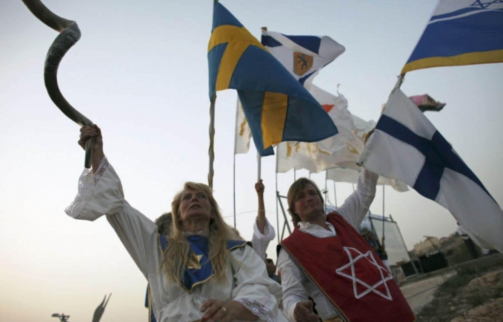 Manifestation de soutien hier à la colonisation israélienne en Cisjordanie, à quelques heures de la fin du moratoire.<br />