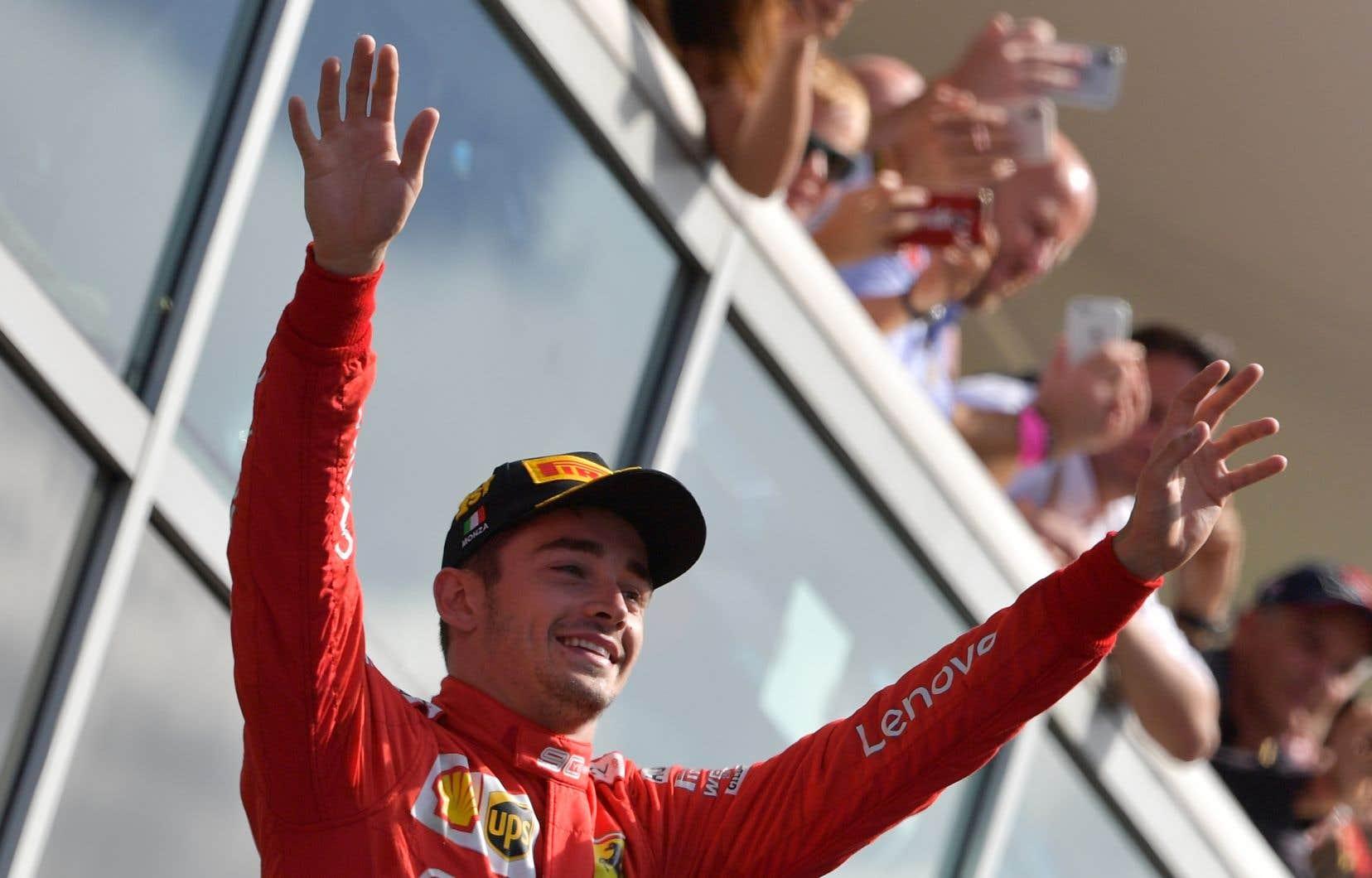 Charles Leclerc lors de sontriomphe à Monza dimanche
