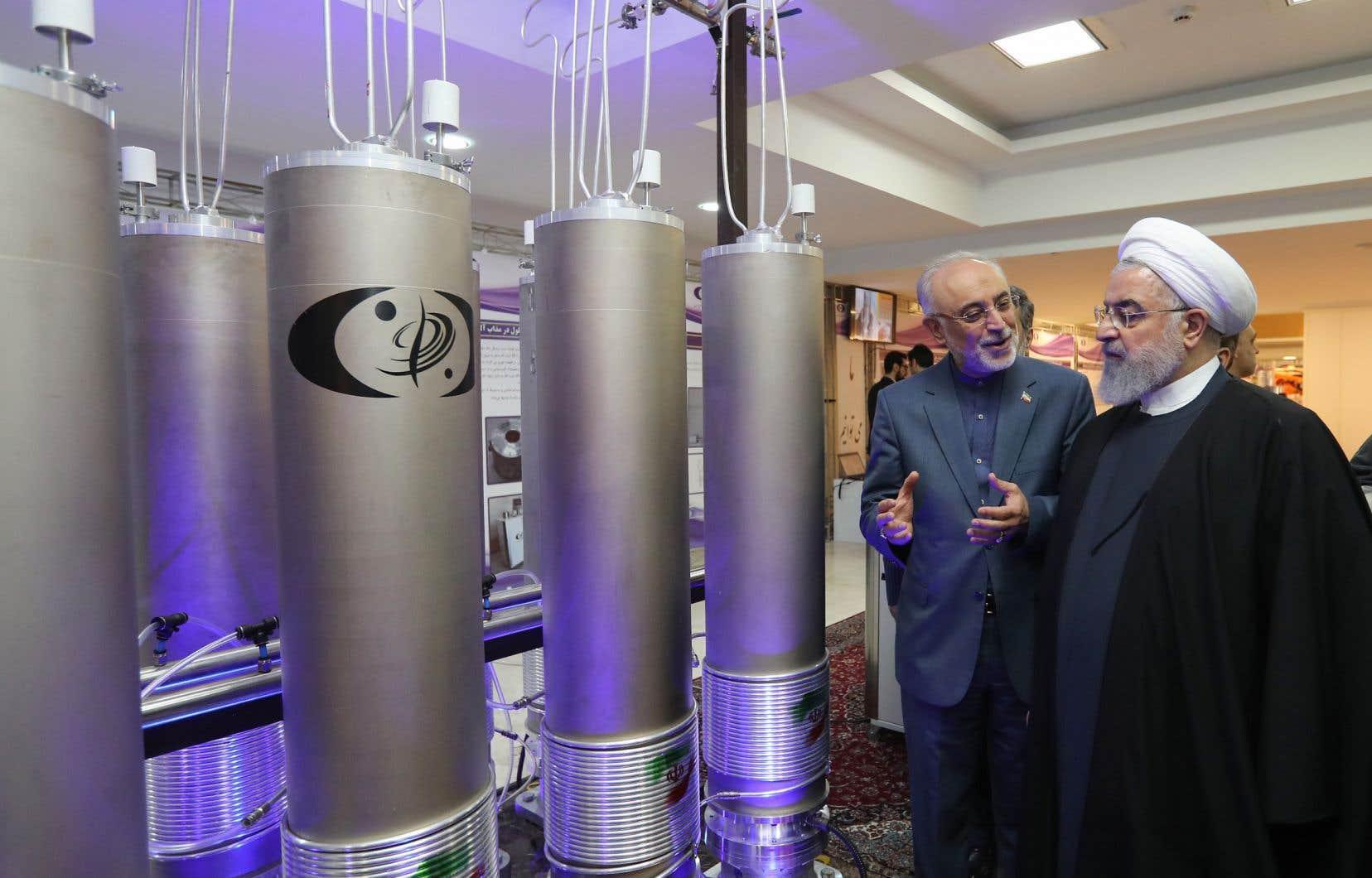 Le chef de l'État iranien, Hassan Rohani (à droite), lors de la «journée de la technologie nucléaire», en avril 2019