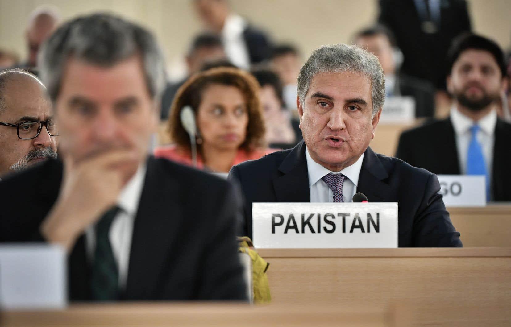 Le ministre pakistanais des Affaires étrangères, Shah Mehmood Qureshi, devant le Conseil des droits de l'Homme de l'ONU.