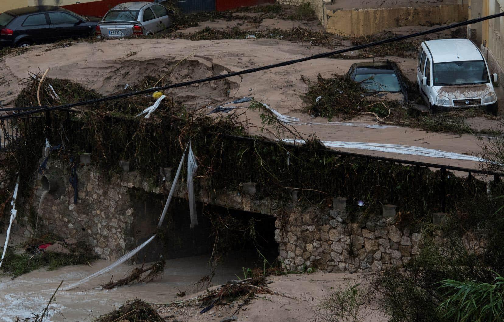 L'association valencienne de météorologie a diffusé des images montrant des murs effondrés dans la ville d'Ontinyent, où la rivière Clariano a débordé.