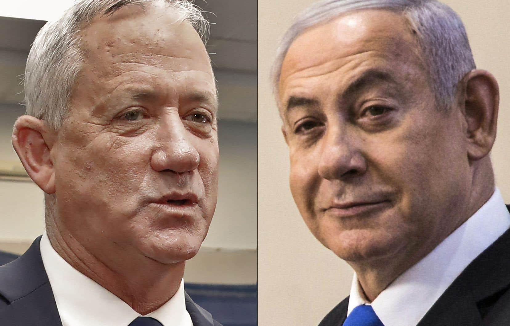 Après plus de 92% des bulletins dépouillés selon les médias israéliens, le parti Likoud de M. Nétanyahou (à droite) et la formation centriste Kahol Lavan («bleu-blanc») de M.Gantz obtiennent chacun 32 sièges sur les 120 de la Knesset, le Parlement, et ne parviennent pas, même avec leurs alliés respectifs, à franchir le seuil des 61 députés pour obtenir une majorité.