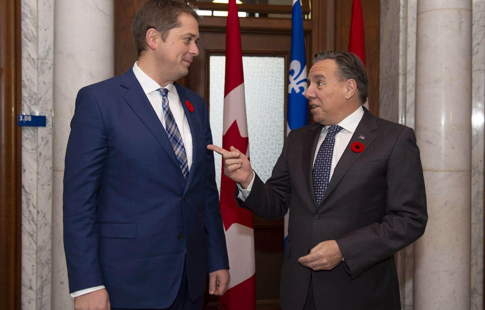 Le chef conservateur Andrew Scheer et le premier ministre François Legault