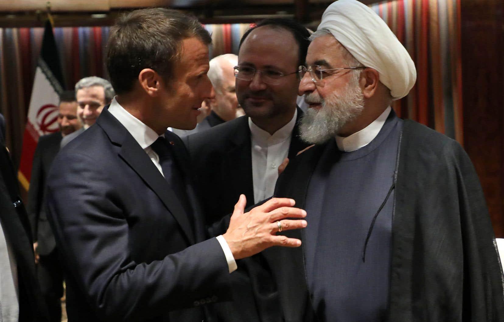 Emmanuel Macron et Hassan Rohani au siège des Nations Unies, à New York.