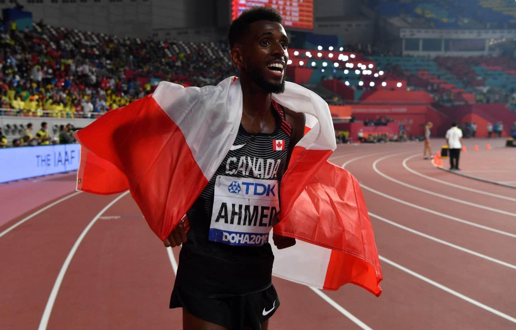 Mohammed Ahmed a couru les 5000 mètres en13 minutes et 1,11 seconde, remportant ainsi la médaille de bronze.